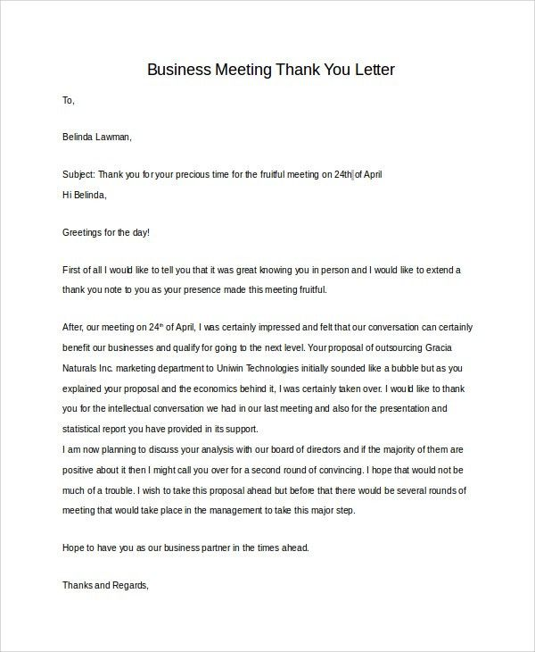 Sample Business Thank You Letter - 7+ Examples in PDF, Word