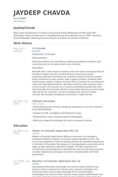 Co Founder Resume samples - VisualCV resume samples database