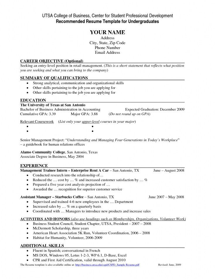 Resume Templates For Undergraduate Students Resume Template For - resume templates for undergraduate students