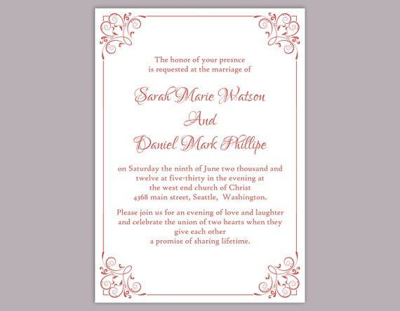 DIY Wedding Invitation Template Editable Text Word File Download ...