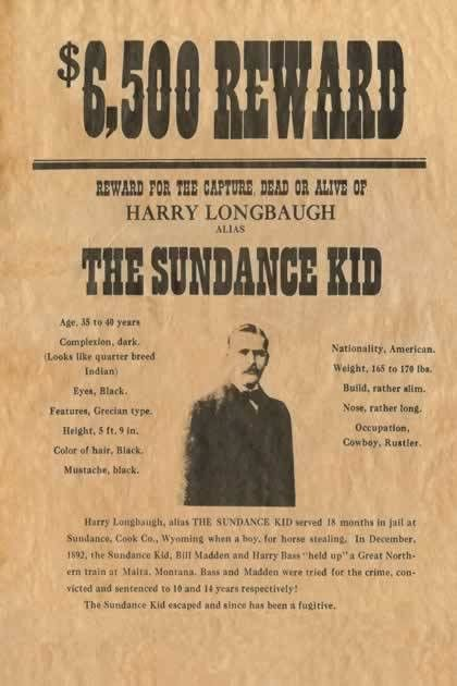 Sundance Kid Reward Wanted Poster Reprod Old Wild West | Wild west ...