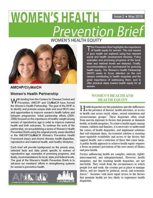 Women's Health Prevention Brief Issue 2 | CityMatCH
