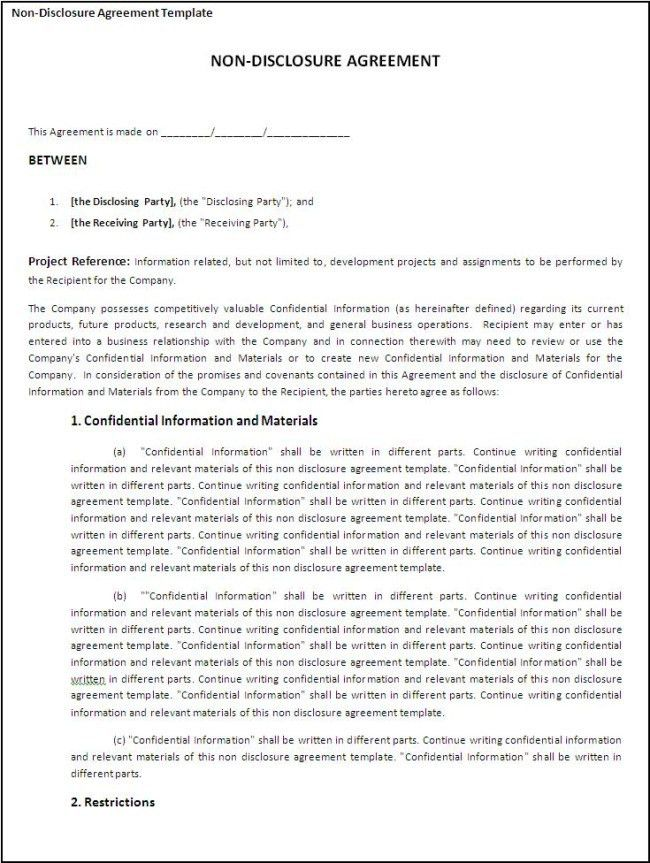 Printable Non-Disclosure Agreement Template Example with Project ...