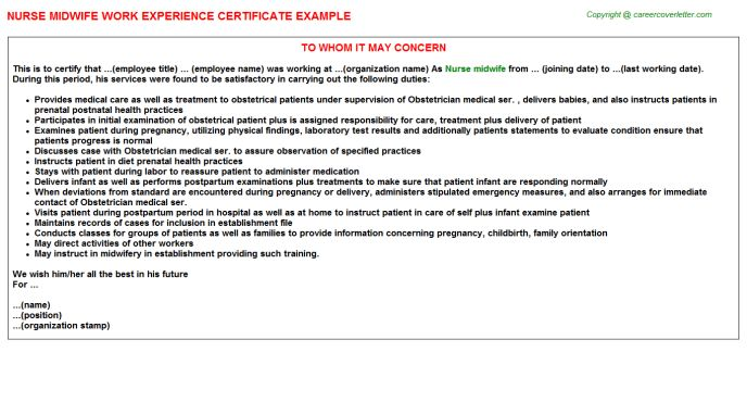 Nurse Midwife Work Experience Letters