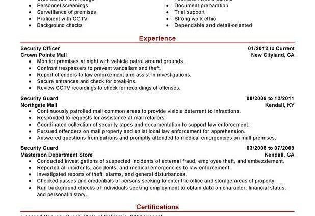 security officer resume examples security guard law enforcement ...