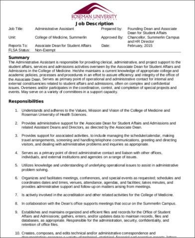 Medical Administrative Assistant Job Description Sample - 7+ ...