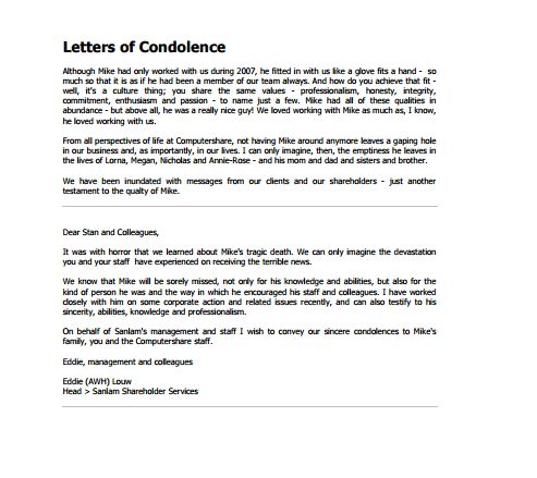 Letter Of Condolence - Writing Professional Letters