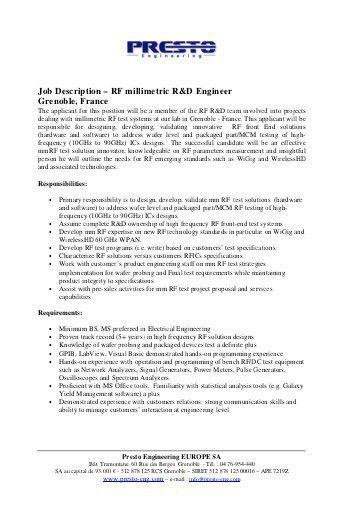 Oil & Gas – Chemical Engineering Job Description - Atkins