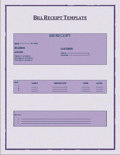 2+ Bill Receipt Formats | Free Word Templates