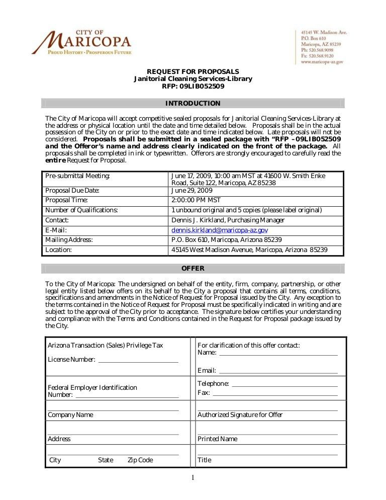 REQUEST FOR PROPOSALS Janitorial Cleaning Services-Library RFP ...