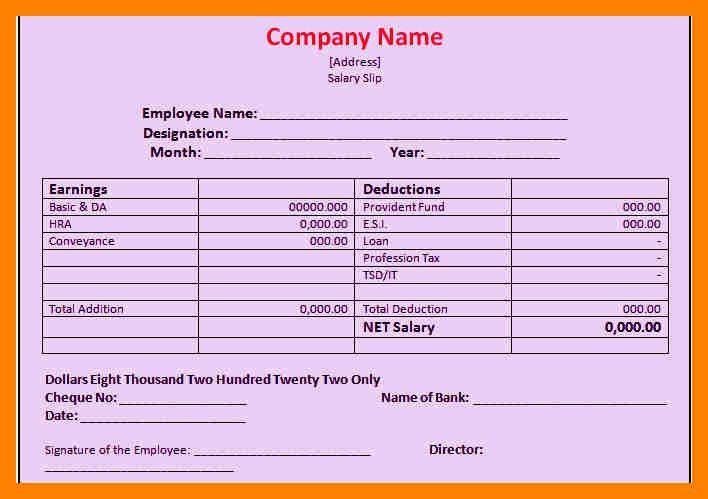 5+ cash salary slip format | resumes great