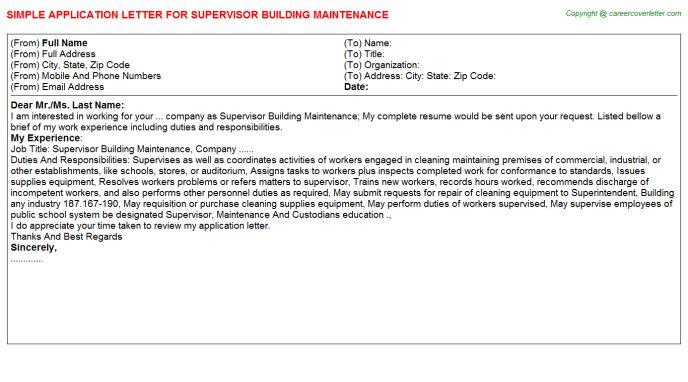 building maintenance cover letter