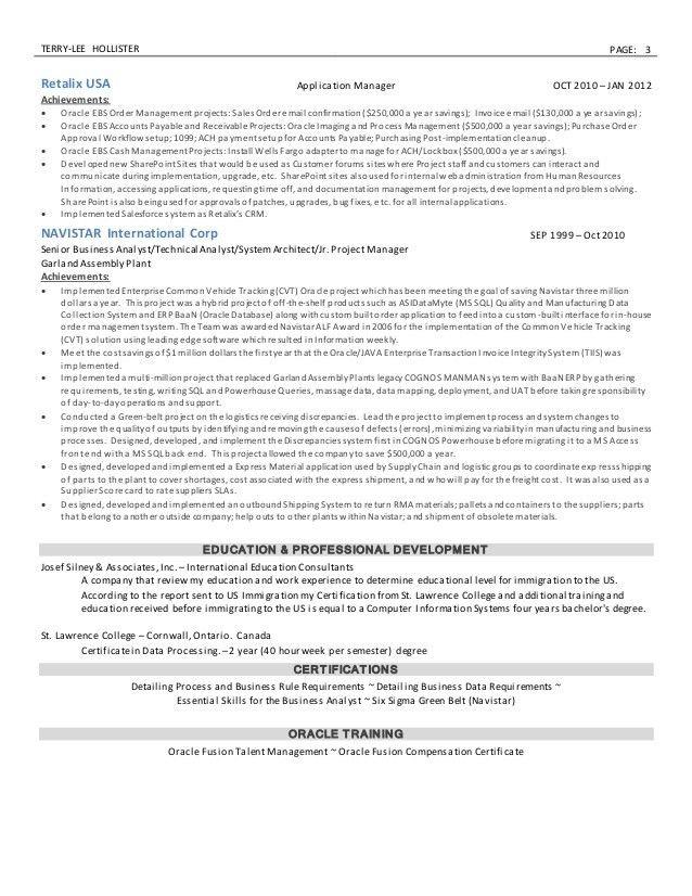 Resume - Sr. Business Analyst