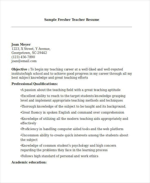 Teacher Resume Sample - 28+ Free Word, PDF Documents Download ...