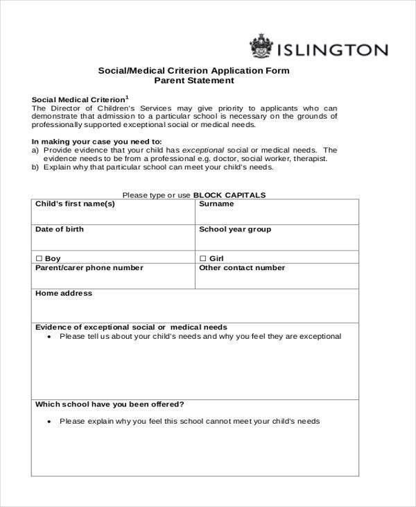 School Application Form Example 10 School Application Templates – School Admission Form Sample