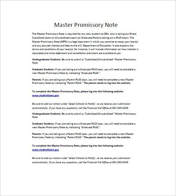 10+ Master Promissory Note Templates – Free Sample, Example ...