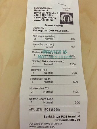Sample Receipt - Picture of Haveli Indian Restaurant, Budapest ...