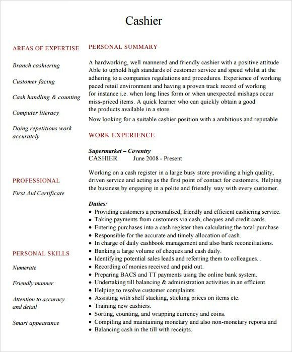 Sample Cashier Resume - 5+ Documents in PDF