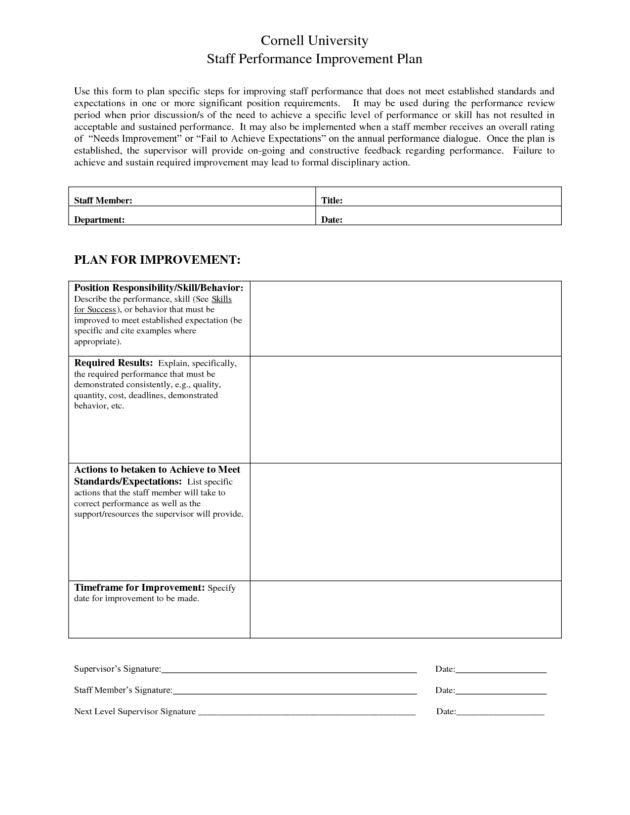Staff Performance Improvement Plan Template Sample : Helloalive