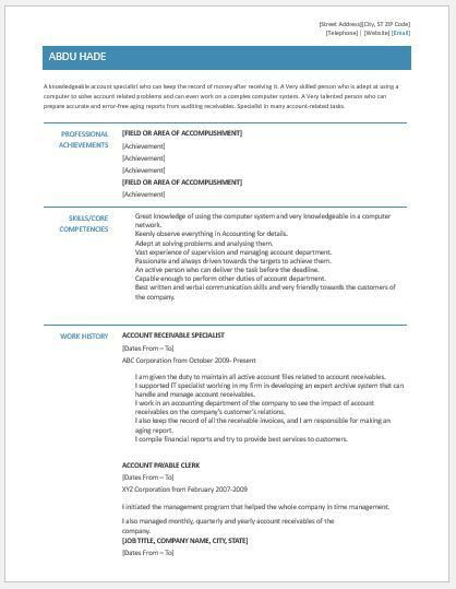 Account Receivable Clerk Resume Contents, Layout & Template ...