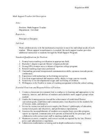 4484 Family Consumer Science Teacher Job Description - Tredyffrin ...