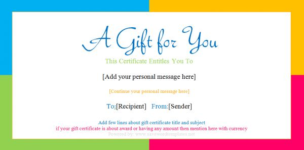 Doc.#716321: Make Your Own Gift Voucher Template – Free Online ...