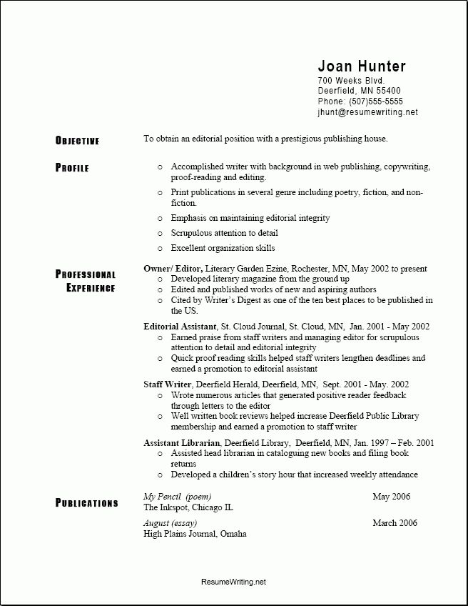resume template examples of professional resumes writing sample. 8 ...