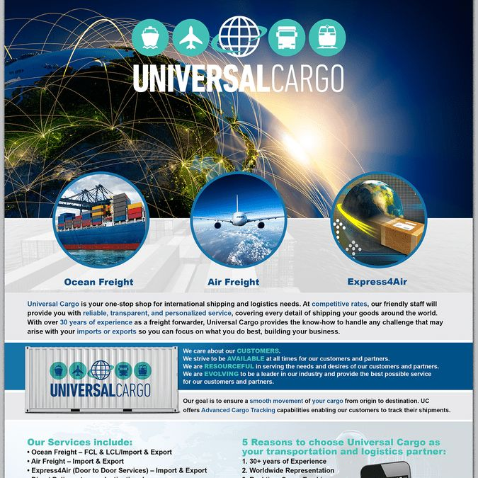 Fun Modern Flyer for Cool Shipping Company Universal Cargo by ...