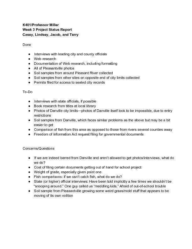 Sample Student Status Report - wikiHow