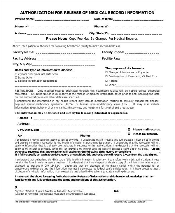 10+ Medical Release Forms - Free Sample, Example, Format | Free ...