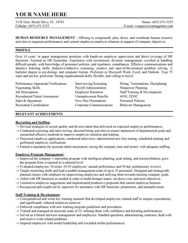Sample Human Resources Manager Resume | Free Resumes Tips