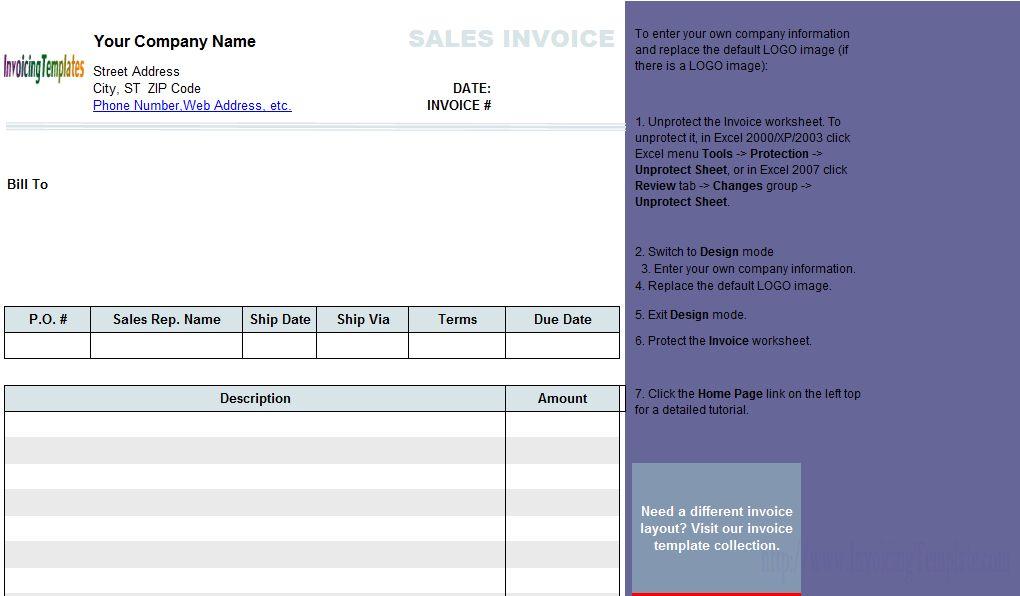 Simple 2-Column Sales Invoice Sample