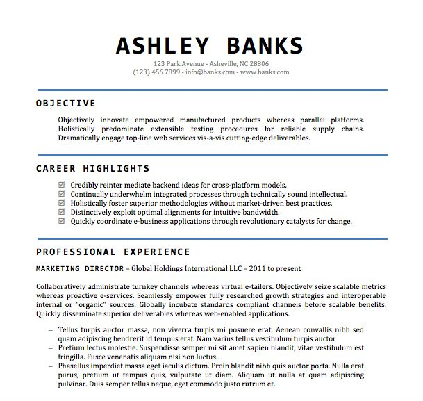 Resume Template Word Doc - Gfyork.com