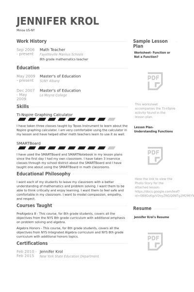 Math Teacher Resume samples - VisualCV resume samples database