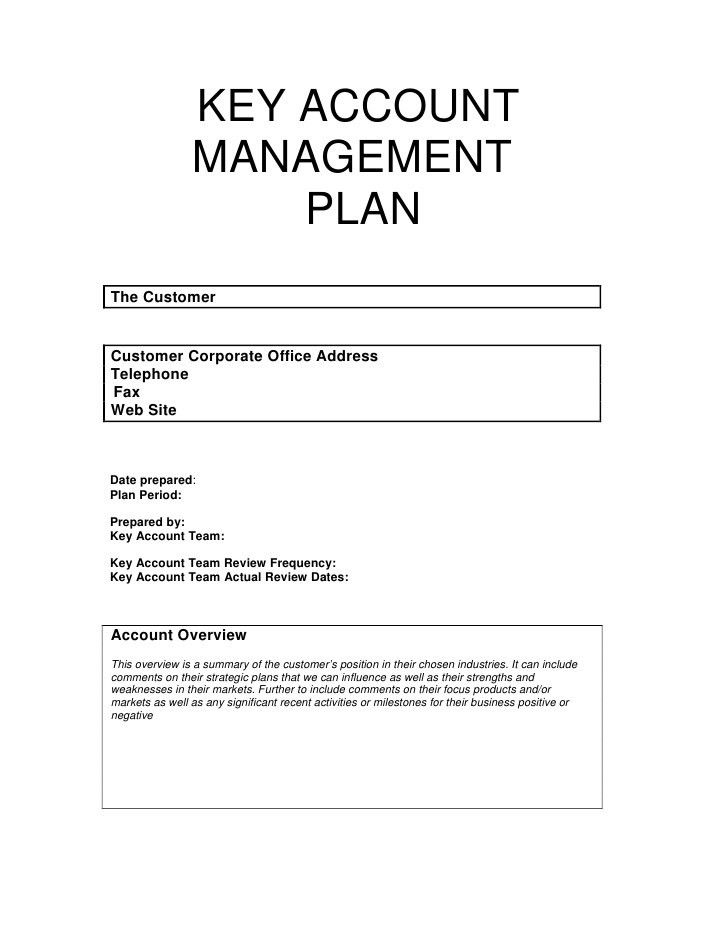 Key Account Management Plan