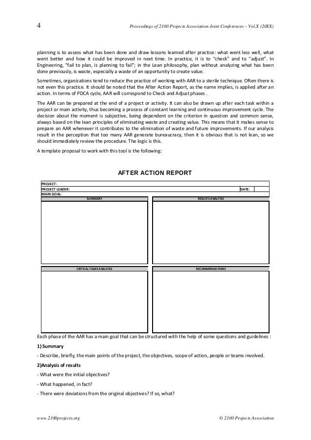 After Action Report: a structured support to the practice of continuo…