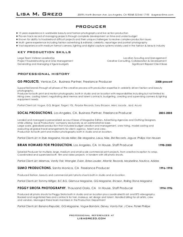Producer Resume 22 Executive Producer Resume Samples - uxhandy.com