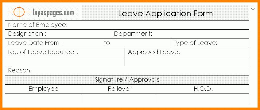 5 leave application format for employees | ledger paper