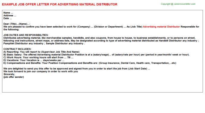 Advertising Material Distributor Offer Letter