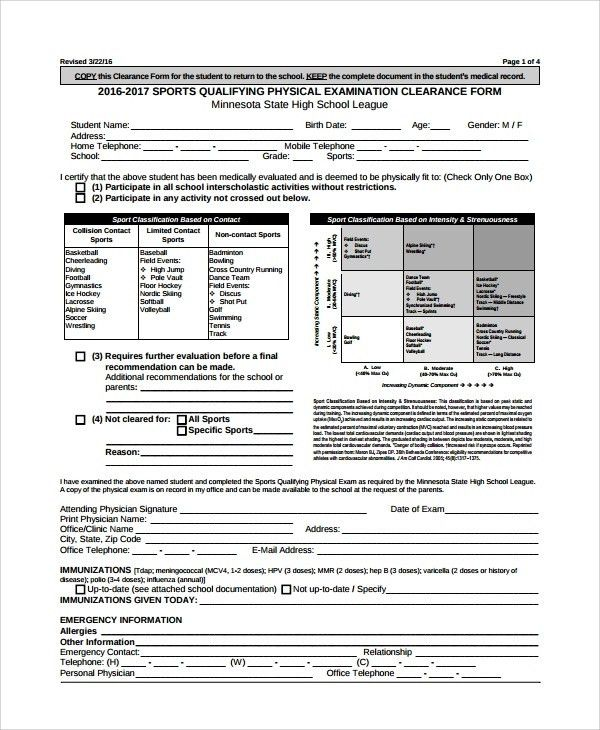 Physical Exam Form. Posture Chart Free Materials Physical ...