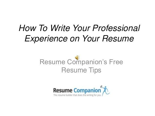 How to write your professional experience on your resume