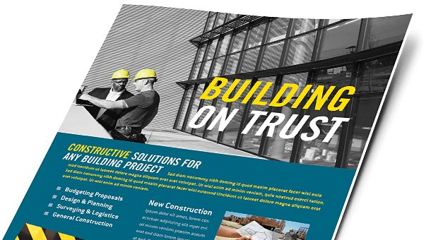 Construction Brochures & Flyers - Word & Publisher Templates