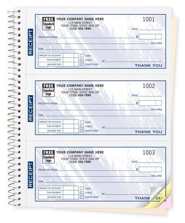 693T a.k.a. 693T-2, 693T-3 Colors Design 3 To Page Cash Receipt Books