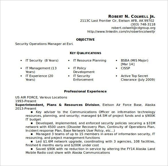 Sample Security Resume - 11 + Download Free Documents in PDF, Word