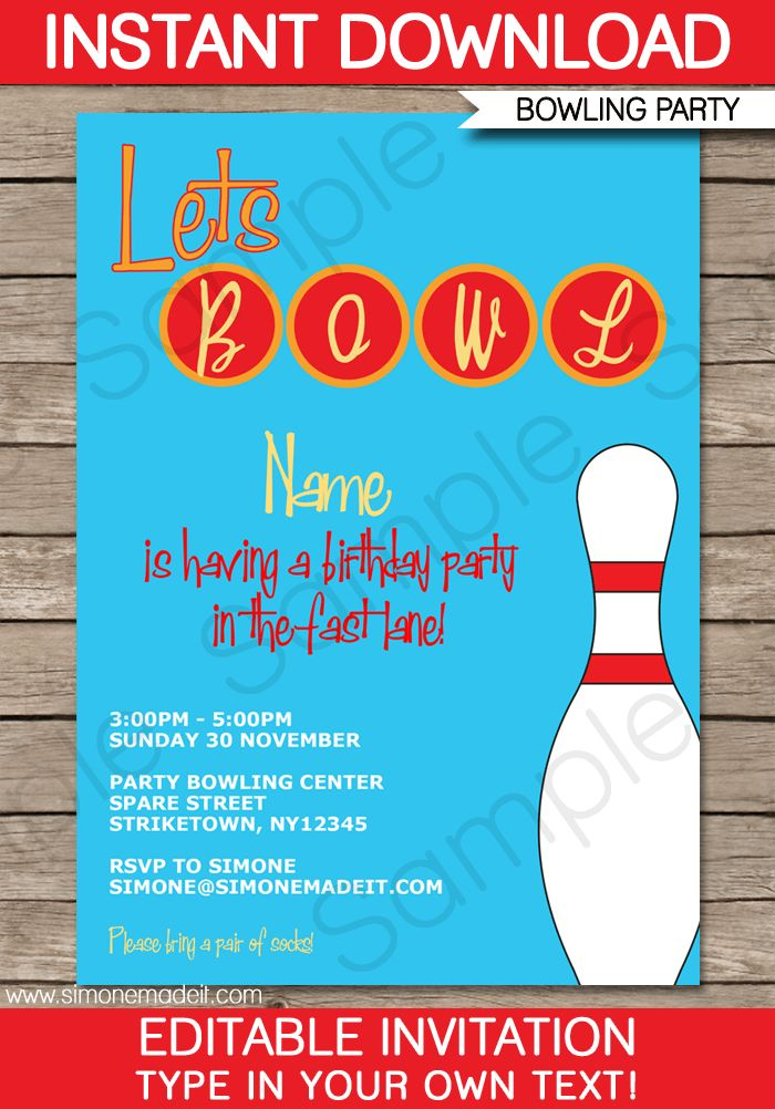 Bowling Party Invitations Template | Birthday Party