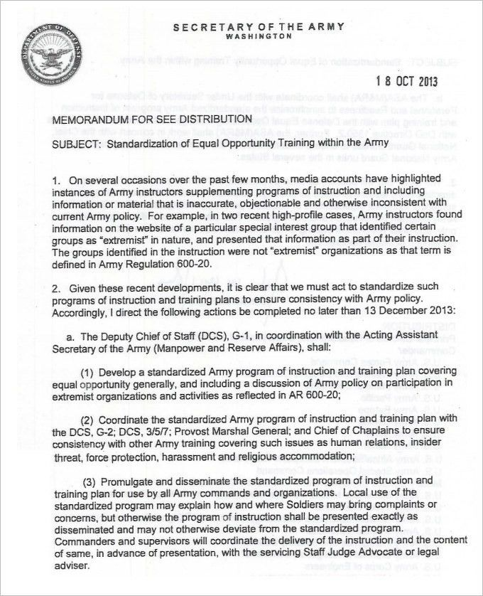 Sample Army Memo Template - 5 Free PDF Documents Download | Free ...