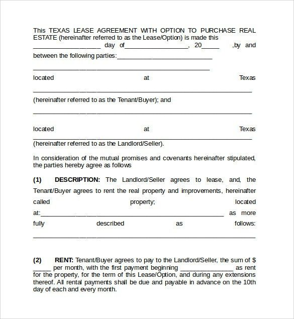 Sample Texas Lease Agreement. Sample Texas Residential Lease ...
