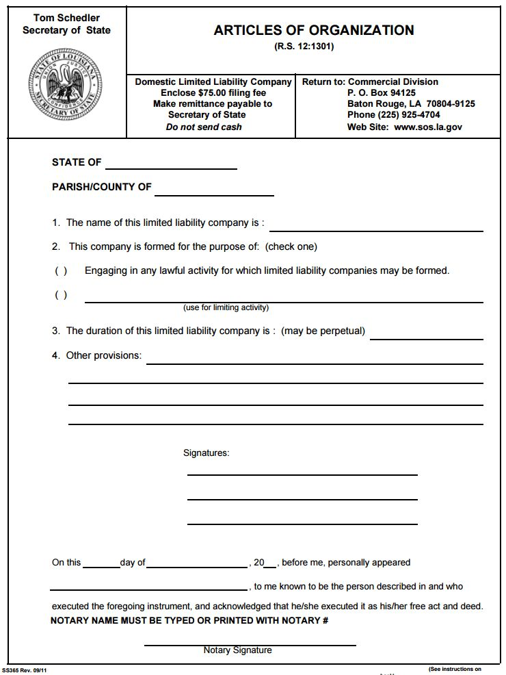 Free LLC Formation Forms | PDF Template | Form Download