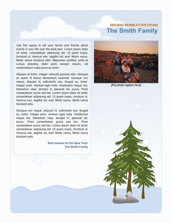 Family holiday newsletter - Office Templates