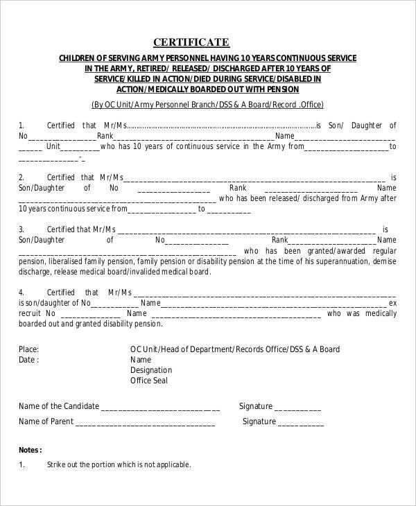 Army Certificate Of Training Template   Jobs.billybullock.us